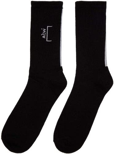 CORE LOGO SOCK WITH LINE AT BLACK