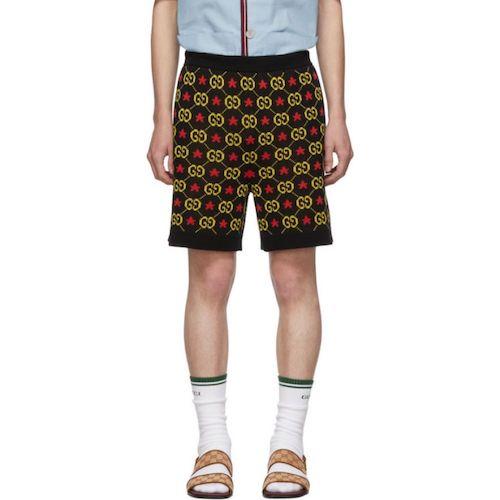 Black GG Star Shorts