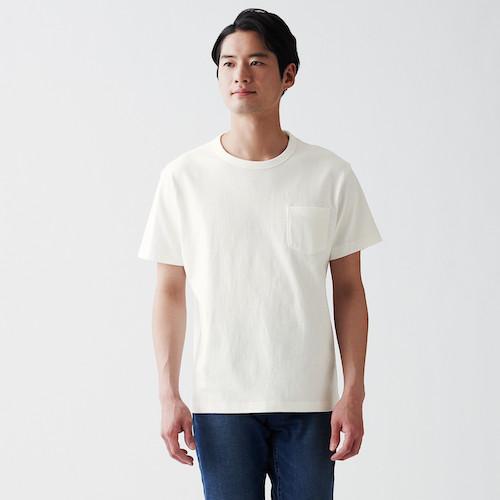 無印良品/太番手 天竺編みポケット付き半袖Tシャツ