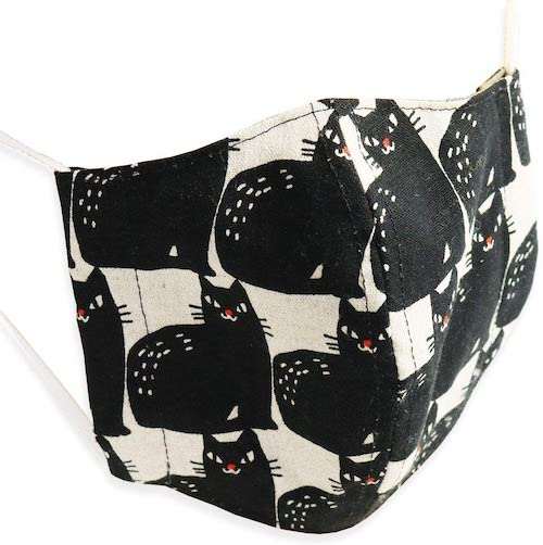 Quintetto日本製黒ネコ柄麻マスク