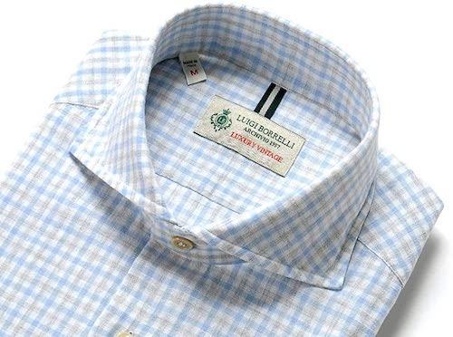 リネンコットンポプリンチェックホリゾンタルカラーシャツ