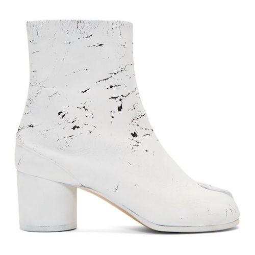 Maison Margiela/SSENSE Exclusive Black 'White-Out' Tabi Boots