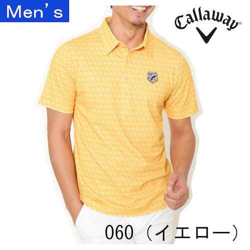 メット柄プリントレギュラーカラー半袖シャツ