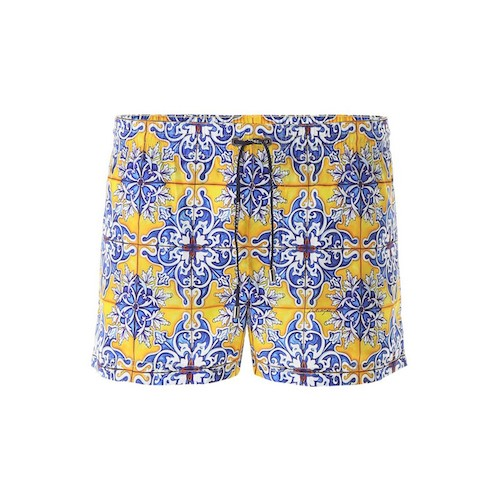 majolica print short swim trunks