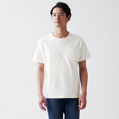 無印良品/太番手天竺編みポケット付き半袖Tシャツ