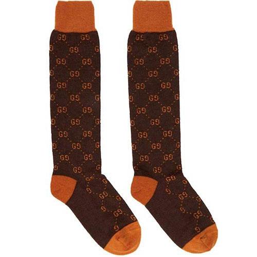 Gucci/Brown & Orange Alpaca GG Supreme Socks