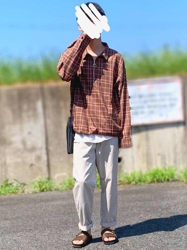 チェックシャツ×シェフパンツ