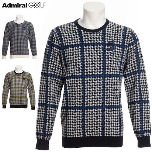 AdmiralGOLF/ガンクラブチェッククルーネックニットセーター