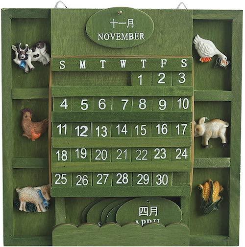 木製モダンユニーク壁掛けカレンダー