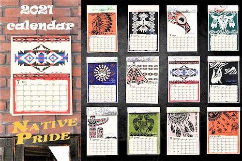 ネイティブデザインの手漉き紙カレンダー