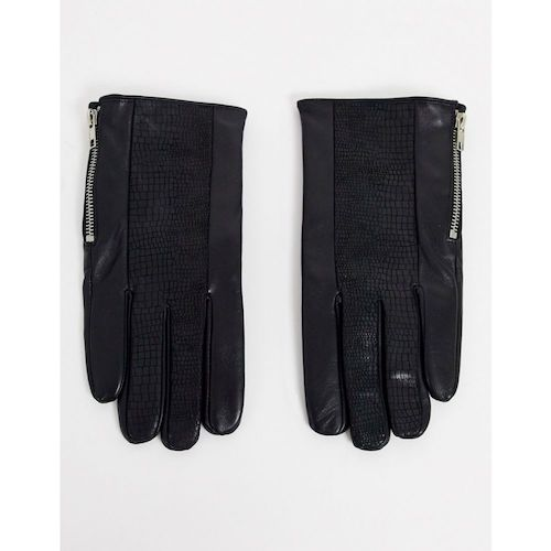 eather gloves in black with mock croc panelap