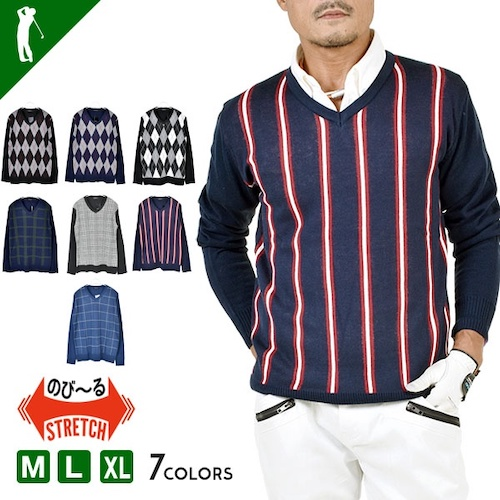 Vネック身頃総柄ゴルフセーター