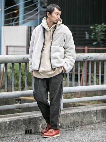 ホワイトフリース×墨黒シェフパンツ