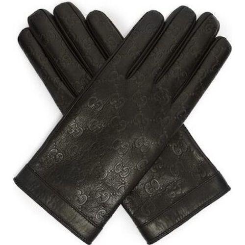 Logo-debossed leather gloves