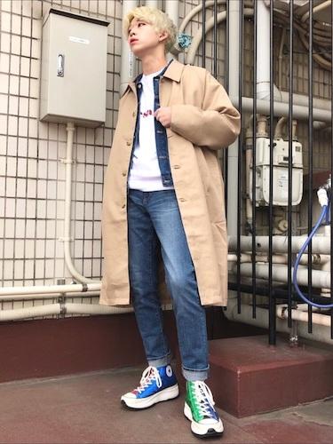 スプリングコート×デニムジャケット