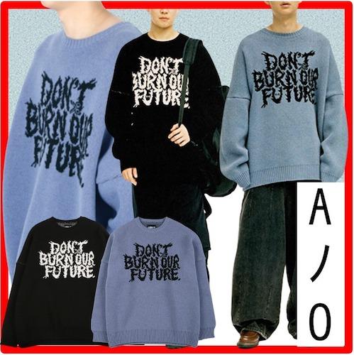 Oversized Slogan Wool Knit Sweater