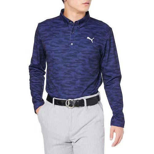 PUMA/長袖ゴルフカモグラフィックLSポロシャツ