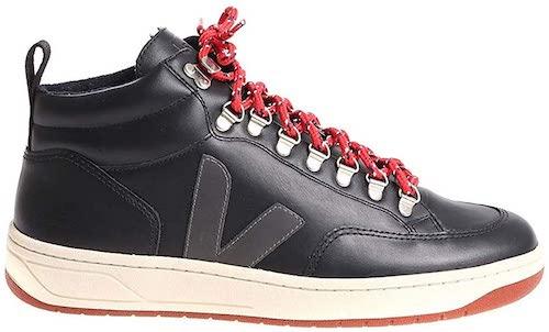 Black Leather Hi Top Sneakers