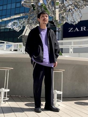 シアーシャツ×紫Tシャツ