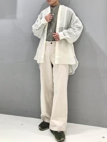 シアーシャツ×カーキマオカラーシャツ