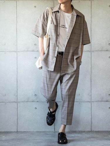 チェックシャツ×チェックスラックス