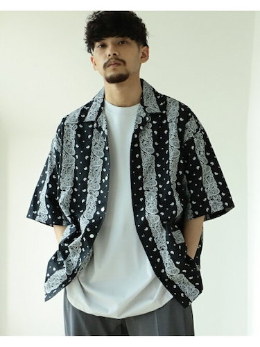 BEAMS/バンダナ柄オープンカラー シャツ