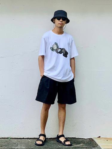 グラフィックTシャツ×ワイドショーツ