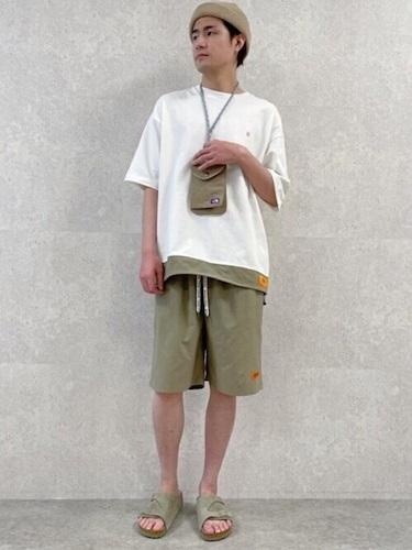 白切り替えTシャツ×ワイドショーツ